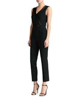 St. John Collection Crepe Marocain Faux Wrap Jumpsuit with Liquid Satin