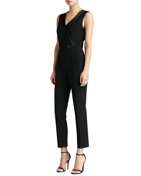 Crepe Marocain Faux Wrap Jumpsuit with Liquid Satin