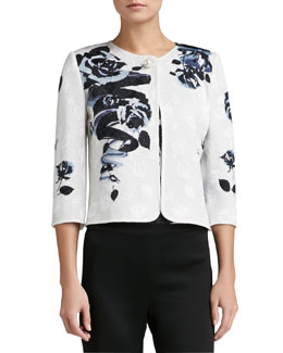 St. John Collection Rose Blossom Print Jacquard Knit 3/4-Sleeve Jacket