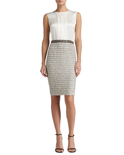 St. John Collection Ribbon Stripe Knit Dress with Liquid Satin Bodice