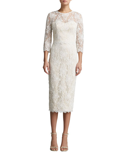 St. John Collection Romantic Floral Lace Jewel Neck 3/4-Sleeve Dress with Scallops