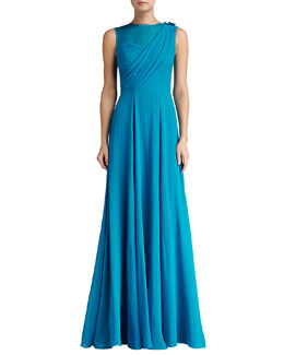 St. John Collection Silk Crinkle Georgette Draped Bodice Gown with Organza