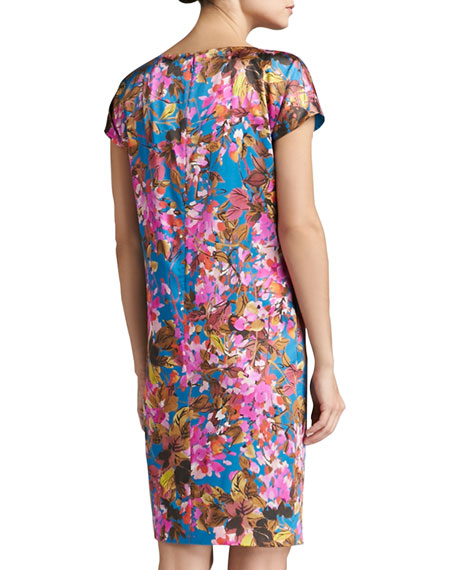 Botanica Print Silk Stretch Charmeuse Cap Sleeve Dress with Pockets
