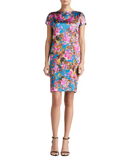 St. John Collection Botanica Print Silk Stretch Charmeuse Cap Sleeve Dress with Pockets