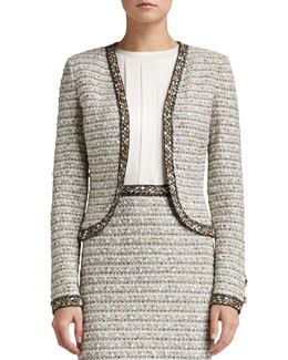 St. John Collection Ribbon Stripe Knit Bolero Jacket with Trim
