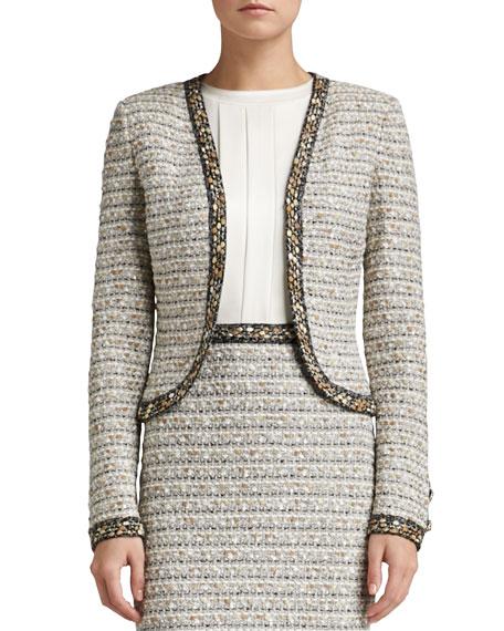 Ribbon Stripe Knit Bolero Jacket with Trim