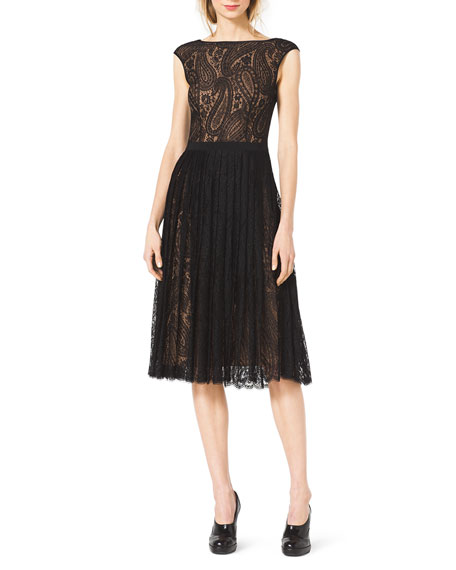 Paisley-Lace A-Line Dress