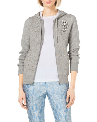 Crystal-Encrusted Cashmere-Cotton Knit Hoodie