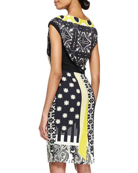 Geo Patch & Floral-Print Drape-Top Dress