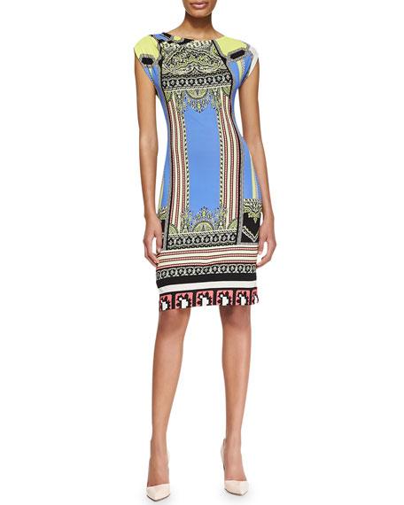 Ruched-Shoulder Baroque and Ribbon Stripe Dress