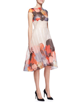 Lela Rose Printed Cap-Sleeve Draped-Bodice Dress