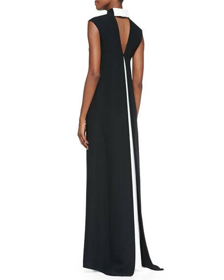 Sleeveless Mandarin-Collar Gown, Black/Ivory