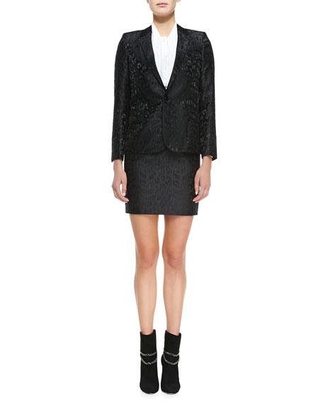 Short Animal Jacquard Pencil Skirt