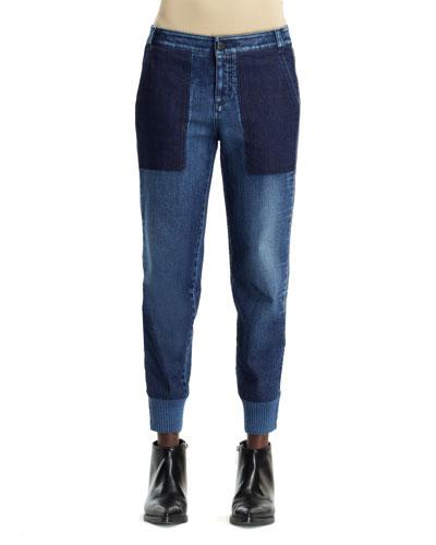 Lea Banded-Cuff Denim Jeans, Pale Blue