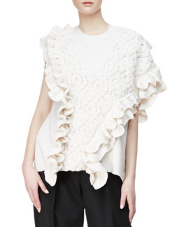 3.1 Phillip Lim Crochet Cable-Knit Tank, Ivory