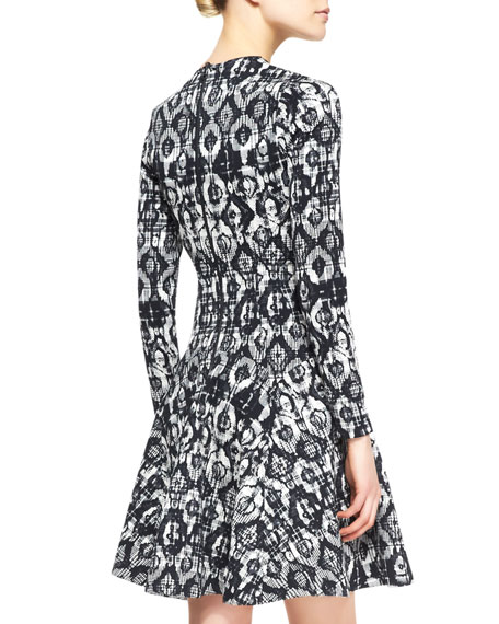 Reversible Long-Sleeve Geometric Stretch Dress, Black/Ivory