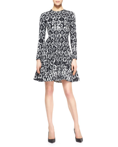 Lela Rose Reversible Long-Sleeve Geometric Stretch Dress, Black/Ivory