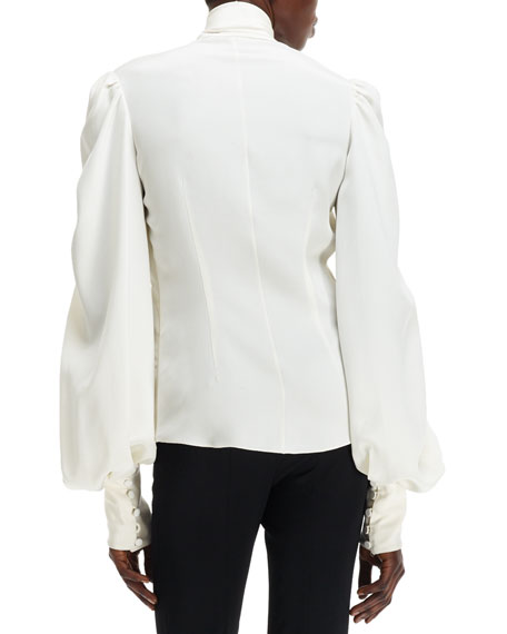 Cady Self-Scarf Puff-Sleeve Silk Blouse