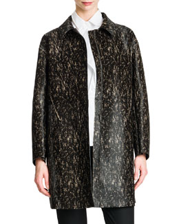 Long Leather Speckled Coat