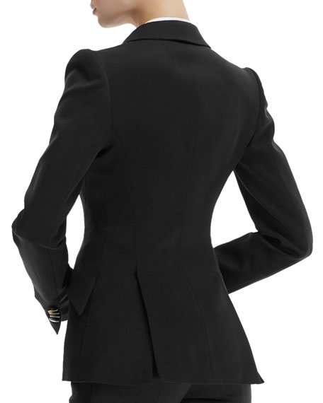 Contrast-Lapel Tuxedo Jacket