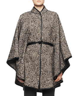 Etro Leather-Belt Tweed Poncho, Taupe/Black