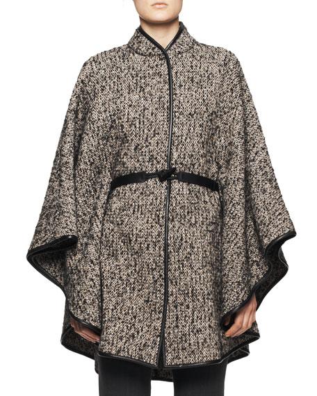 Leather-Belt Tweed Poncho, Taupe/Black