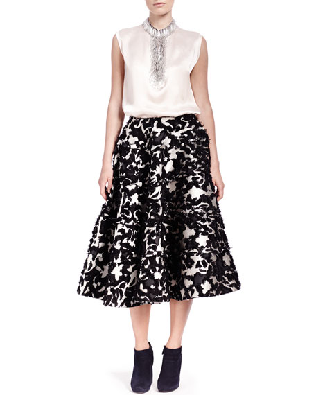 Floral Fil Coupé Seamed Tiered Skirt