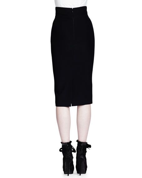Ribbon Grommet Below-the-Knee Pencil Skirt, Black