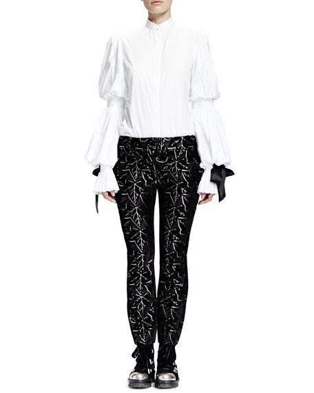 Ivy-Print Jacquard Velvet Cropped Pants