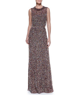 Jenny Packham Sleeveless Confetti-Beaded Gown, Mulberry