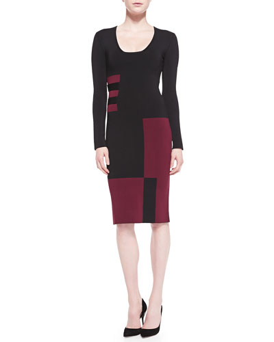 Roland Mouret Long-Sleeve Colorblock Sheath Dress