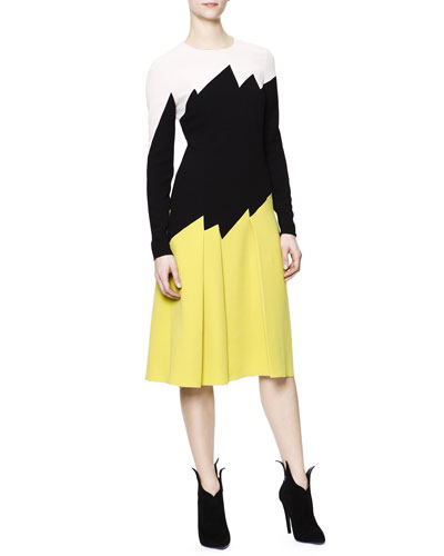 Bottega Veneta Long-Sleeve Zigzag Colorblock Dress