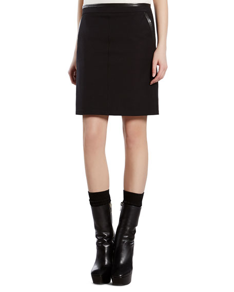 gucci black skirt with leather trim