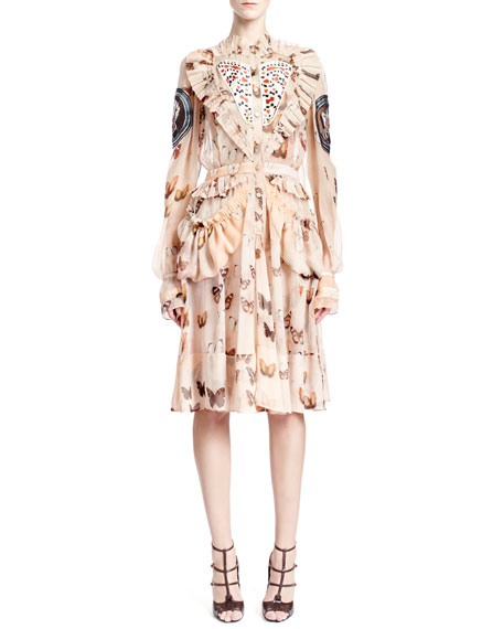 Givenchy Long-Sleeve Butterfly-Print Silk Dress, Pink