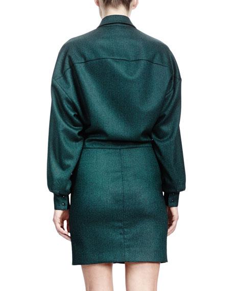 Long-Sleeve Zip-Applique Shirtdress, Emerald
