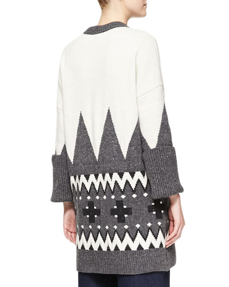 Fair Isle Knit Cardigan Coat, Ivory/Charcoal