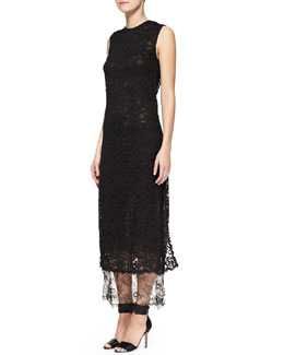 Adam Lippes Sleeveless Double-Layer Lace Midi Gown, Black