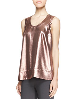 Brunello Cucinelli Sleeveless Metallic T-Shirt