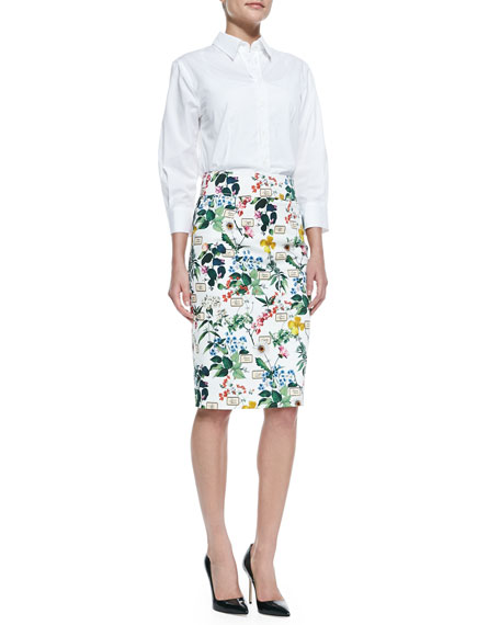 Botanical-Print Pencil Skirt, White/Green