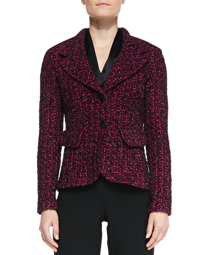St. John Collection 2-Button Blazer with Pockets, Boysenberry/Multi