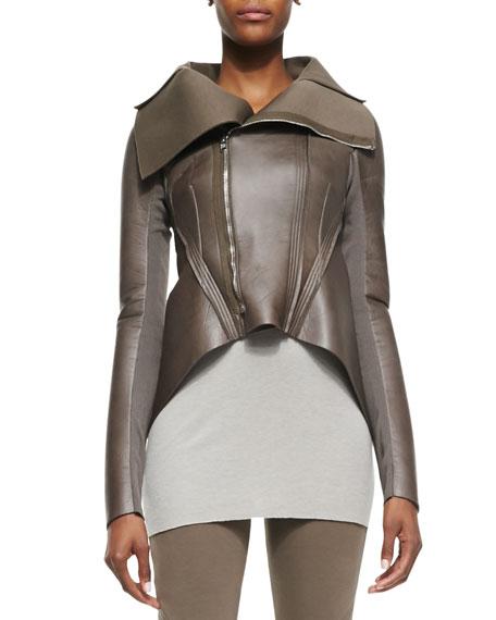 Arch-Hem Leather/Ponte Jacket