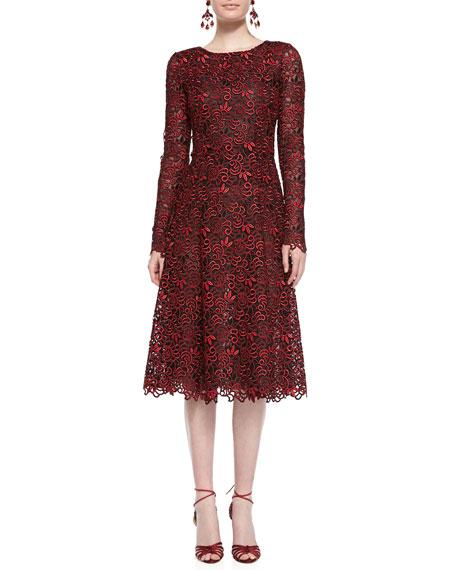 Long-Sleeve Cutout-Lace Dress