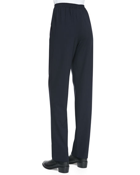 Narrow Wool-Stretch Trousers, Navy