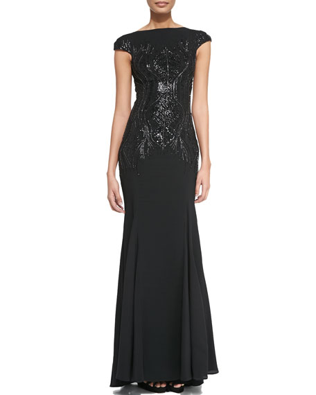 Beaded Cap-Sleeve Gown