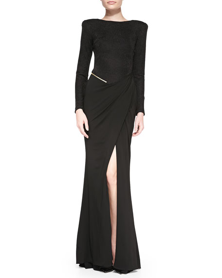 Long-Sleeve Jersey Slit Gown, Black