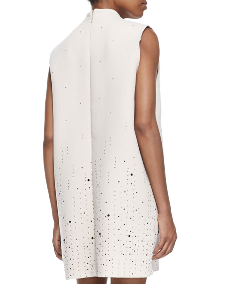 Scattered Crystal Mock-Neck Dress