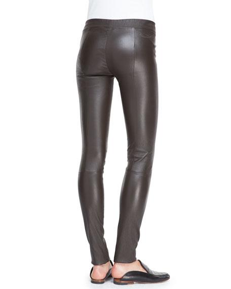 Pull-On Leather Moto Leggings