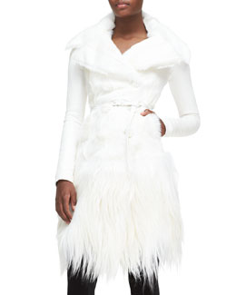 Donna Karan Long Belted Goat Fur Jacket