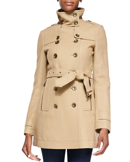 Funnel-Collar Trench Coat