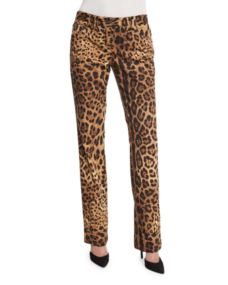Cropped Leopard-Print Brocade Pants